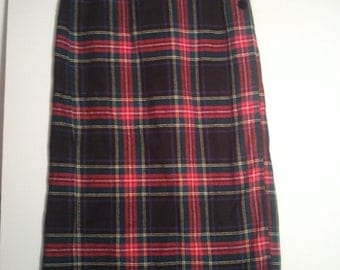 SALE cotton flannel plaid skirt grunge punk 90s hippie hipster boho bohemian size 12 tartan