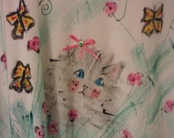 SALE Super Sad cute kitty cat shirt tshirt hand painted jewel 80s eighties kinderwhore puffy paint boho artist irony unisex