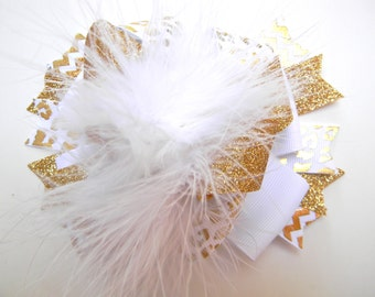 White and Gold Hair bows - Over the top Gold foil bow-Metallic gold foil bow