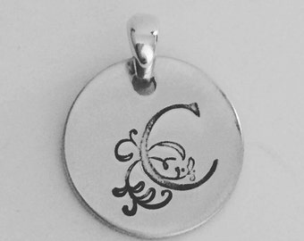 Personalised monogram stamped sterling silver stamped 16mm pendant charm with NO chain, Perth Western Australia