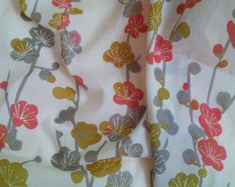 Vintage Furoshiki cloth Japanese Fabric - light yellow grey, green, orange sakura cherry blossoms pattern - Japanese scarf flowers fabric