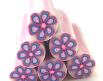 Polymer Clay Cane, Pink, Blue and Purple Flower, Hippie, Flowe Power, Raw, Unbaked Clay