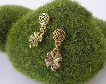 Round GOLD CELTIC Endless Knot Lucky Four Leaf Clover IRISH Dangle Earrings