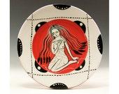 Ceramic Dessert Plate - Lady and the Bird