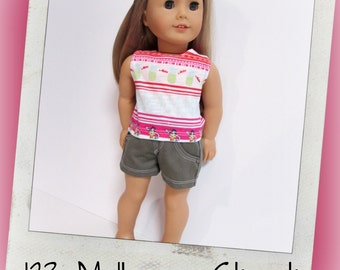 "18"" Doll Clothes, AG doll clothes- Hula girls and Pineapple tank top and khaki shorts fits 18"" dolls like American Girl, Maplelea"