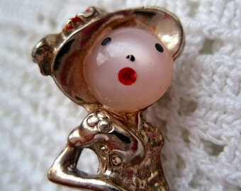 Vintage Figural Lady Pin with Pink Jelly Belly Face Woman 1950s Retro Fun