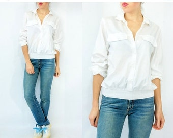 50% OFF SALE... Vintage 80's White Swishy Athletic Button Down Blouse