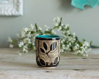 Ceramic Juice Cup / Sgraffito / Turquoise