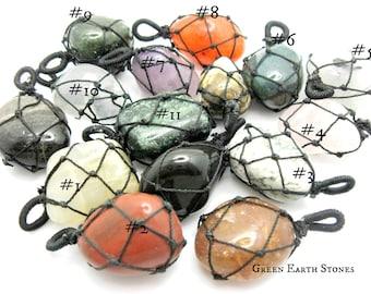 Makrame Tumbled Stone Pendant, Gemstones, Jewelry, Metaphysical, Supplies, Wrapped Pendant, Gemstone Pendant, Crystal Healing,