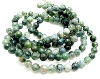 15 Inch Strand Green Moss Agate 8mm Beads, Supplies, Arts & Crafts, Crystal Healing, Artisan  Beads