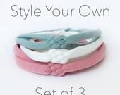 Baby Knot Headband Set, Baby Headband, Set of 3 Sailor Knot Headbands, Baby Girl Gift, Braided Headbands, Newborn Gift, Small Bows, Baby Bow