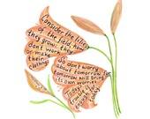 Consider the lilies scripture design print 8x10 custom