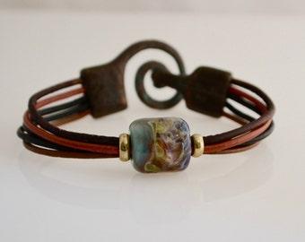 Bebe's Glass Boro Bead 5 strand Women's Leather Bracelet Patina Copper Clasp Medium # 27