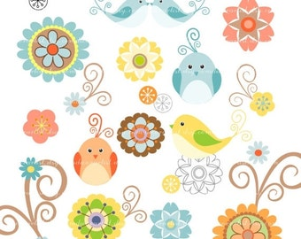 ON SALE Digital clip art bird, flower, birds n flowers 2, scrapbooking, INSTANT Download