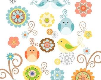 ON SALE Digital clipart bird, flower, birds n flowers 2, scrapbooking, INSTANT Download