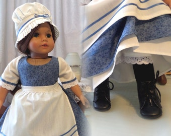 18 Inch Doll Clothes / Doll Dress / Mob Cap / Apron / Doll Clothing / Doll Accessories / Doll Outfit /Fits American Girl Doll - 1041