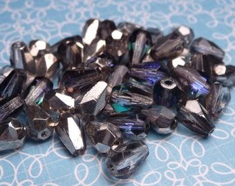Metallic Bermuda Blue Faceted Glass Teardrop Beads 7x5mm - 20pc