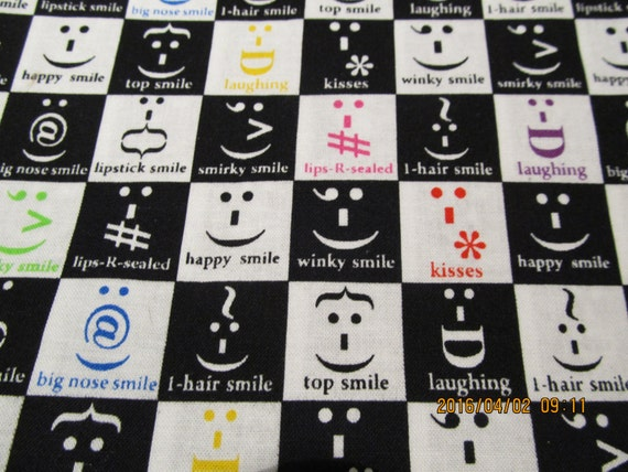 Novelty fabric emoji texting print from quiltstyle on etsy for Emoji material by the yard