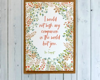 SALE Literary Anniversary Card - Paper Anniversary - Shakespeare Quote - Romantic Card - Engagement Card - 194