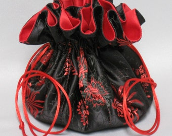 JewelryTravel Tote---Organizer Drawstring Pouch---Black & Red Floral Satin Brocade---Large Size
