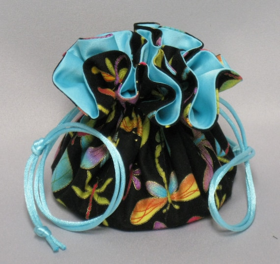 Jewelry Drawstring Travel Tote---Dragonflies Design Organizer Pouch-----Medium Size