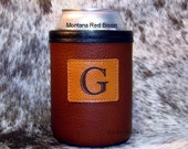 Wedding Groom or Groomsmen Gift Custom Monogramed Bison Leather Can Insulator with Monogramed Leather Patch Concho- Whiskey Color