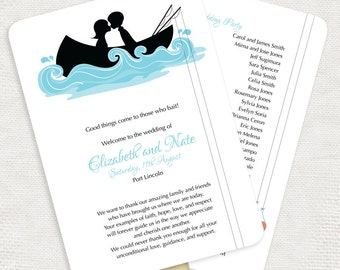 fishing wedding ceremony program fan hooked on you - printable customised, boating boat sea navy, canoe, order of service diy ceremony decor