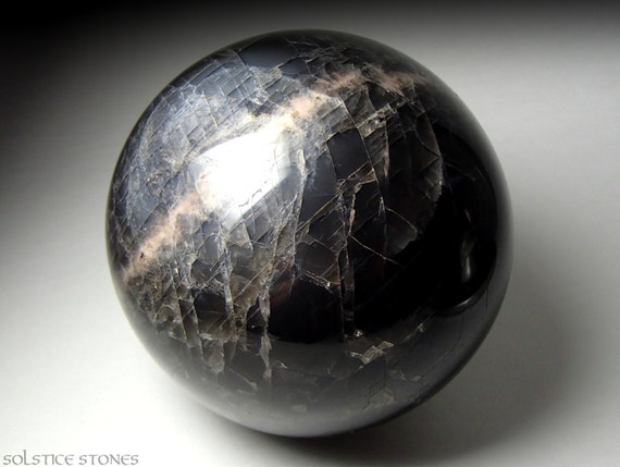 RESERVED Huge Black Moonstone Sphere AAA Grade Polished