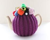 OOAK Liquorice Allsorts - Handmade Tea Cosy - pure merino wool base - by Tafferty Designs - Size Medium 4-6 cup - Ready to ship