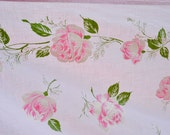 Vintage Bed Sheet - All Cotton Pink Roses on Pale Pink -  Full Flat Use or Repurpose