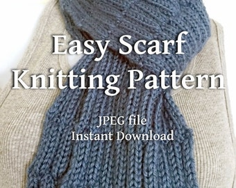 Knitting Pattern Country Blue Scarf Textured Scarves Beginner Knitters EASY Scarf Tutorial - Sell What You Make Instant Download JPEG File