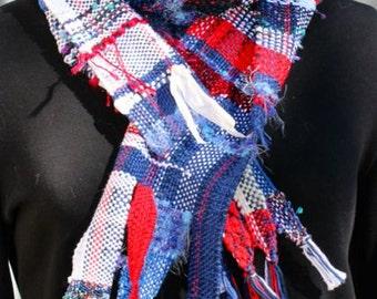 Handwoven Saori style patriotic scarf, blue, red, white, cotton