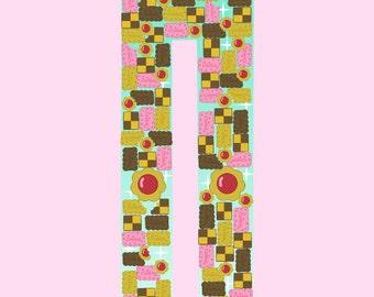 Kawaii Fairy Kei Cookie Biscuit Tetris Tights Pastel Mint