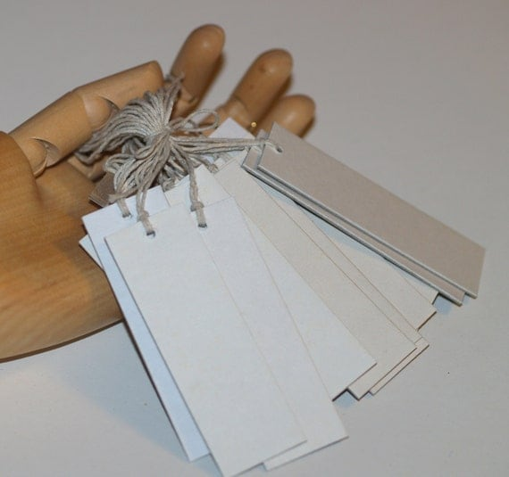 100 thick white tags 1 x 3 heavyweight chipboard for Price tags for craft shows