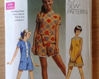 Vintage 1960s Simplicity 8667 Pant Dress, Romper or Mini Pant Suit - size 12