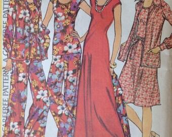 Vintage 70s uncut McCalls 4250 Dress, Pants and Jacket size 18