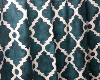 Pair (two 50W panels) designer custom made curtains drapes Madrid plantation blue slub