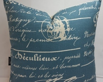 """Penmanship, french script, cotton toss pillow 20"""" square, blue and white"""