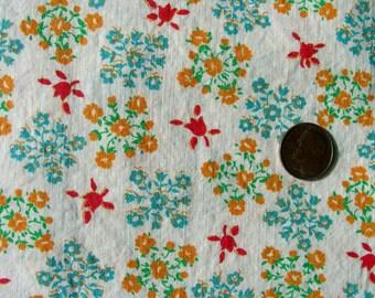 Vintage Feedsack Flour Sack  Cotton Fabric - Sweet Tiny Tulips on White Background  - 35 x 42
