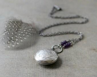 Round Locket Necklace, Amethyst Locket, February Birthstone Locket, Sterling Silver Locket Pendant, Oxidize Silver Jewelry Push Gift for Mom