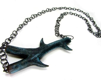 Dark Blue Thorn Branch Junction Necklace - Contemporary Jewellery Necklace, Handmade Silver Chain Ceramic Art Jewellery No. 133