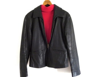 Vintage leather jacket Leather motorcycle jacket Black leather jacket Cayenne leather jacket cropped leather jacket Womens Size Medium W M