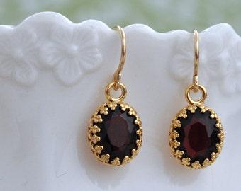 deep garnet red earrings, gold earrings, vintage jeweled earrings, small drops, 14k gold filled