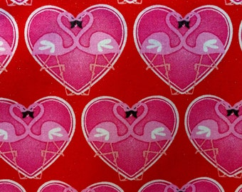 """Apron-Full Coverage, Handmade Chef Style, Sassy, Classy , Hot Pink, Cheerful, """"Flamingos in Love"""""""