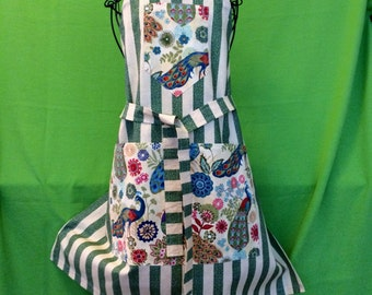 Full Apron - Proud as a Peacock on Decorator Striped Fabric,  Classic Chef Style, Unique, Elegant, Cotton Blend, Handmade in USA
