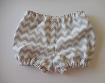 Baby boy, girl  or toddler diaper cover bloomers gray chevron