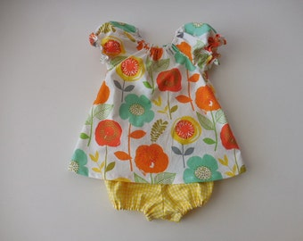 Girls and babies peasant dress large orange yellow green flowers with yellow gingham bloomers
