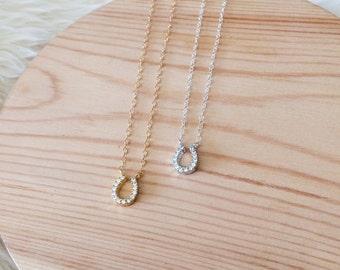Horseshoe Necklace, Rhinestone Horseshoe Necklace, Sterling silver or gold filled