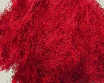 Red Sari Silk Waste By The Ounce