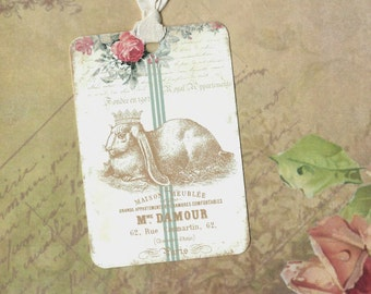 French, Le Lapin, French Rabbit Tags, Crown, Rabbit, Gift Tags